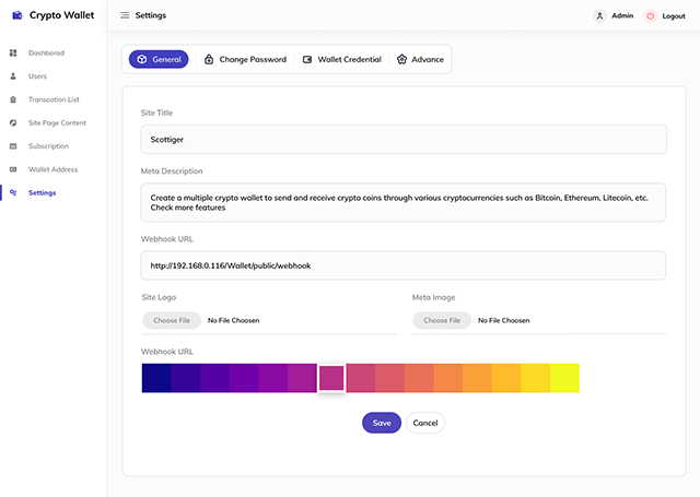Crypto-Wallet-Setting-Page